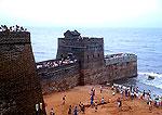 Great Wall's Old Dragon Head where wall meets the Bohai Sea