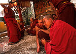 Lhasa's Drepung monastery, young monks debating religious philosphy