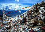 Khamba La Pass prayer flags on route from Lhasa to Gyangze