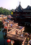 Shanghai's Huxingting Tea House and zig zag bridge in Old Town next to Yu Yuan (Yu Garden)