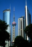 Shanghai's Pudong high rise buildings including Orient Pearl TV Tower in center