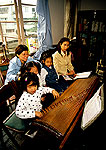 Shanghai Children's Palace music students practicing zither (guzheng)