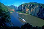 Yangtze Three Gorges with passenger cruise ship in Qutang gorge prior to new dam