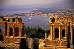 Taormina harbor from ruins of Roman amphitheater.