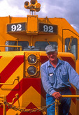 Santa Fe Southern railroad locomotive engineer Doug Miller at Santa Fe Depot