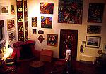 Lafonda de Taos Hotel lobby display of local art