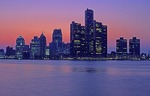 Detroit skyline at night from Windsor, Canada, across the Detroit River features the Renaissance Center