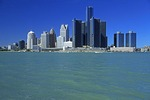 Detroit skyline from Windsor, Canada, across the Detroit River features the Renaissance Center