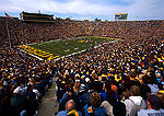 University of Michigan's Michigan Stadium during Big Ten conference football game at full capacity, largest stadium in country
