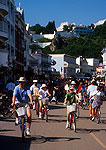 Mackinac Island's Huron Street with bicycle and pedestrian traffic in summer