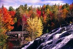 Bond Falls on the middle branch of the Ontonagon River in Michigan's Upper Peninsula in autumn