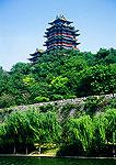 Nanjing's River Viewing Tower (Yue Jiang Lou) above Ming dynasty city wall and moat
