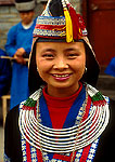 Tall-pointed Hat Miao minority nationality woman in traditional dress in western part of province
