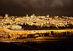 Jerusalem view from Mount of Olives with Dome of the Rock/Al Aksa Mosque just right of center