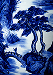Traditional landscape painting design on Chinese porcelin vase