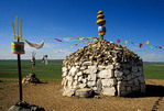 Inner Mongolian holy stone yurt religious site on the grasslands