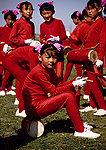 Inner Mongolian drummer girl team at the annual Naadam Festival on the grassland near Hohhot