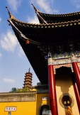 Zhenjiang's Jinshan (Gold Hill) Buddhist Temple with temple's Benevolence and Longevity Pagoda in background