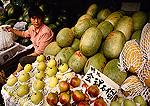 Chengdu market stall with fresh fruit