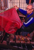 Chengdu silk brocade weaver in local workshop