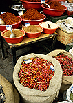 Sichuan spices and peppers in Chengdu street market