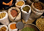 Food items (beans, nuts, grains) in market in Shaoxing's Keqiao Old Water Town