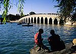 Beijing's Summer Palace seventeen-arch marble bridge on Kunming Lake