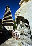 Beijing's Fragrant Hills Park, carvings on stupas on the terrace of Bright Temple (Zhao Miao), Tibetan-style Buddhist temple