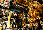 Beijing's Fragrant Hills Park, golden Maitreya Buddha in the Bright Temple (Zhao Miao), Tibetan-style Buddhist temple