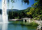 Beijing's Fragrant Hills Park, Yanjing (Spectacles) Lake, divided in two by stone arched bridge