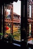 Xitang ancient water town, view from restaurant window of canal, location for film Mission Impossible III