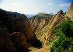 Shanxi province's eroded loess plateau near Yellow River (Huang He)