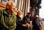 Pingyao friends on street in the ancient 2,700-year-old walled city