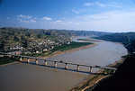 Bridge over Yellow River (Huang He) with Shanxi province on left bank