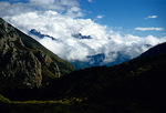 Sichuan's Minshan Mountains, in north central Sichuan province near Huanglong and Jiuzhaigou, enshrouded in clouds