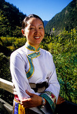 Local Tibetan woman in the Jiuzhaigou (Nine Village Valley) scenic area, World Biosphere Reserve