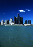 Detroit Skyline from Windsor, Canada, across Detroit River