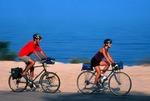 Bicyclists touring along Lake Michigan shoreline in lower peninsula