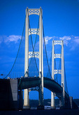 Michigan's Mackinac Bridge, crossing the Straits of Mackinac between the lower and upper peninsulas of the state, the
