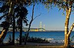 Michigan's Mackinac Bridge across straits of Mackinac