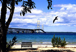 Michigan's Mackinac Bridge from Mackinac City beach in lower peninsula