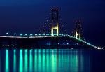 Michigan's Mackinac Bridge at night