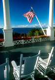 Mackinac Island's Grand Hotel porch overlooking Straits of Mackinac