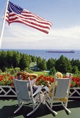 Mackinac Island's Grand Hotel porch view of freighter in Straits of Mackinac