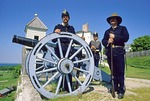 Mackinac Island 1880's uniformed soldiers guarding Fort Mackinac