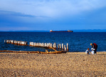 Great Lakes freighter passes where the Edmund Fitzgerald sank in Lake Superior