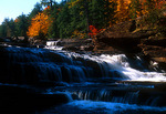 Water falls on Presque Isle River in Porcupine Mountains Wilderness State Park in western upper peninsula, Michigan.