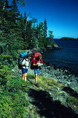 Isle Royale National Park backpackers on the Three Mile Trail along Rock Harbor