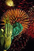 Spirit of Detroit statue during annual summer fireworks display
