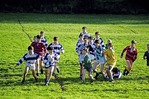 Irish school boys playing rugby on Tipperary school playing field